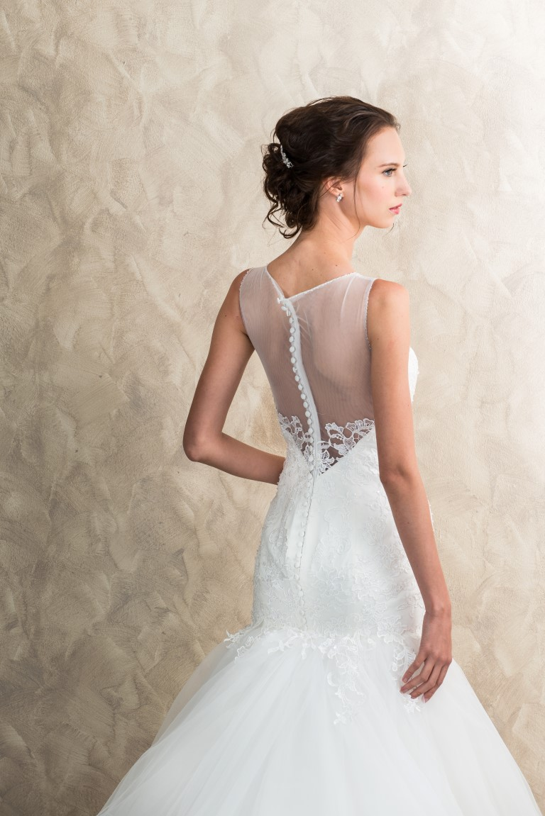 Lace Mermaid V Back Illusion Neckline