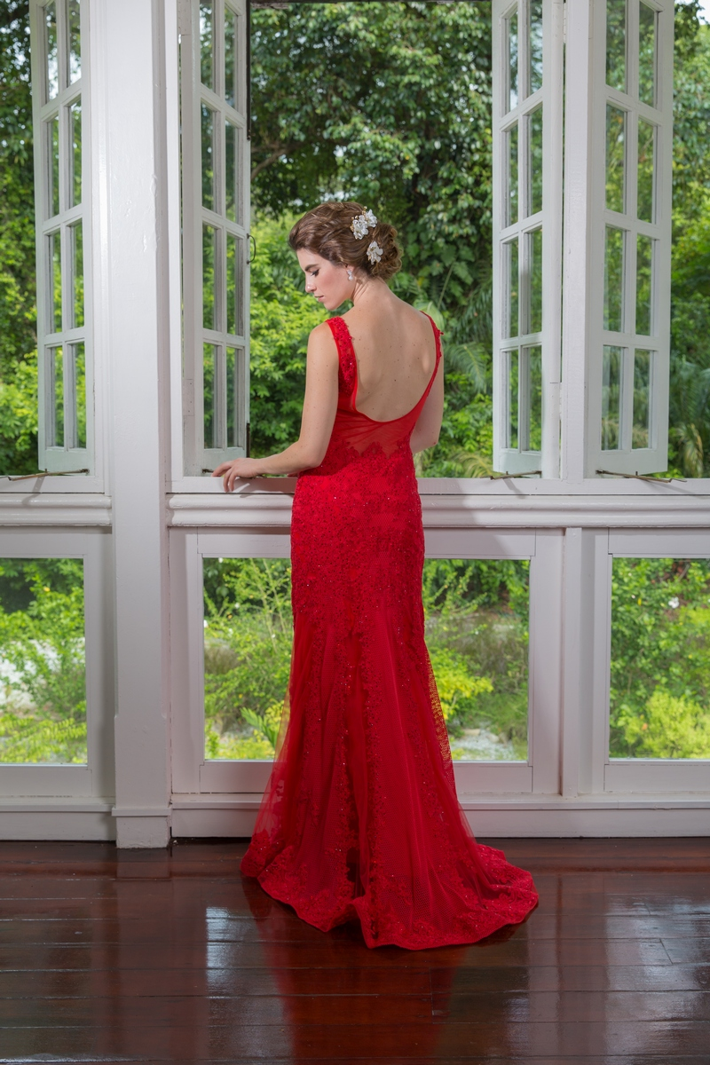 Chilli Red Beaded Lace U Back Mermaid Evening Dress