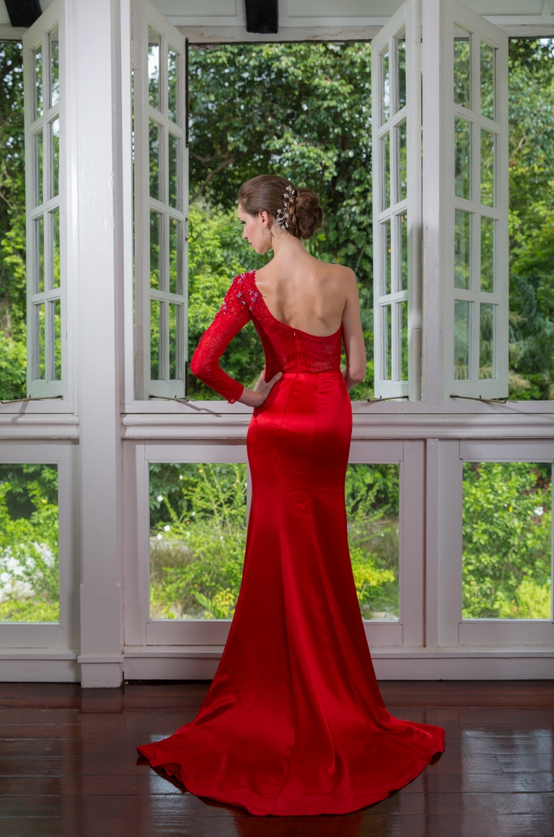 Chilli Red Beaded Lace Sleeve Toga Satin Mermaid Evening Dress