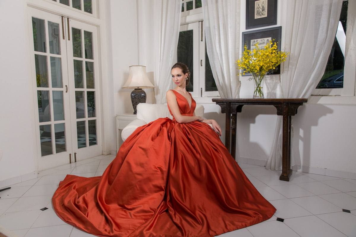 Plunging Neckline Tangerine Satin Ballgown Evening Dress