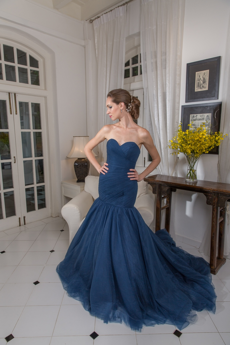 Pleated Sweetheart Bustier Navy Blue Mermaid Evening Dress