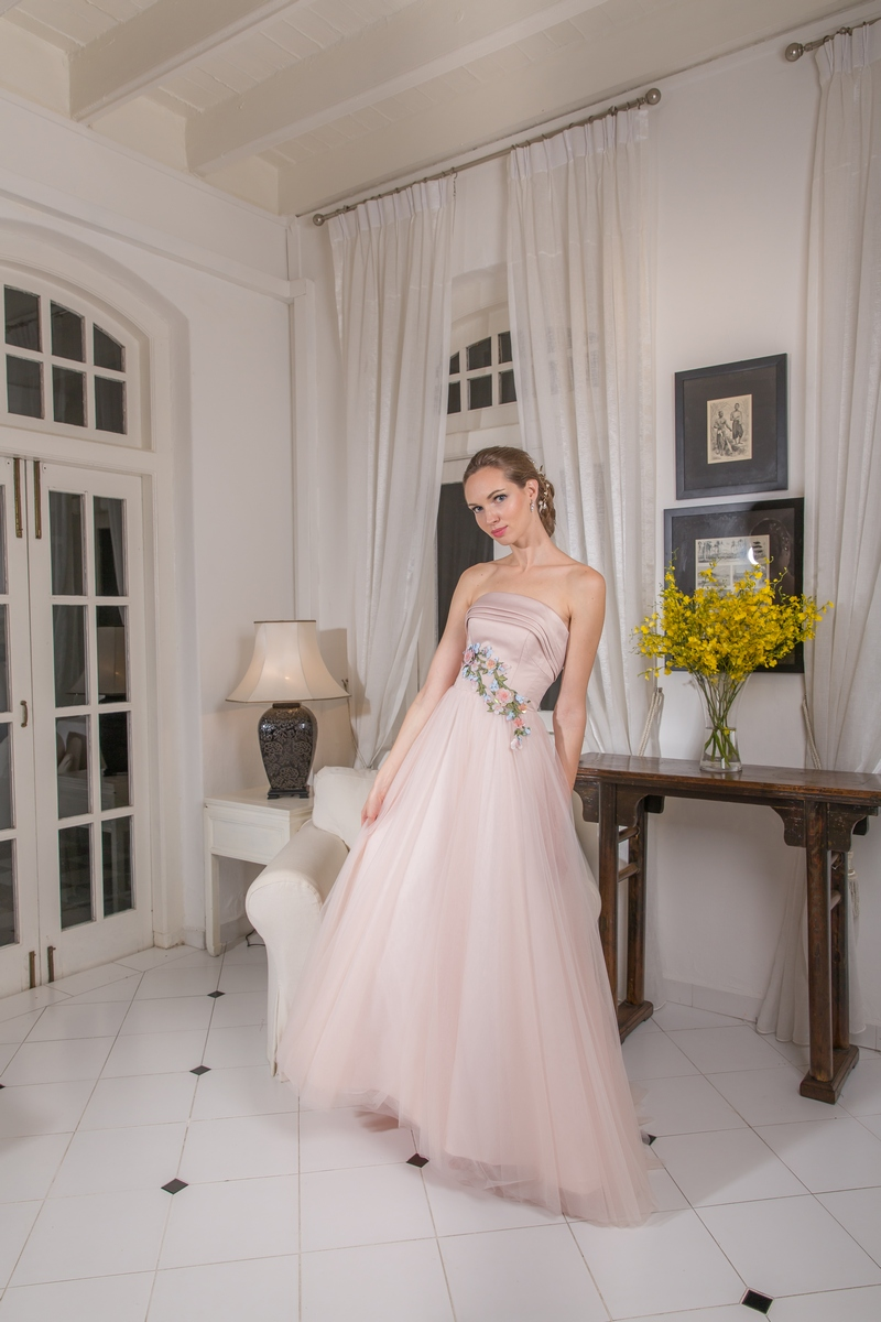 Blush Pink Satin Bustier 3D Coloured Floral Motifs Evening Dress