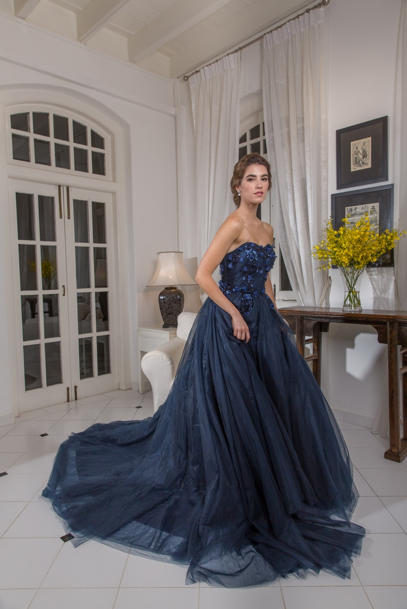 Navy Blue Sweetheart Bustier 3D Floral Lace Ballgown Evening Dress