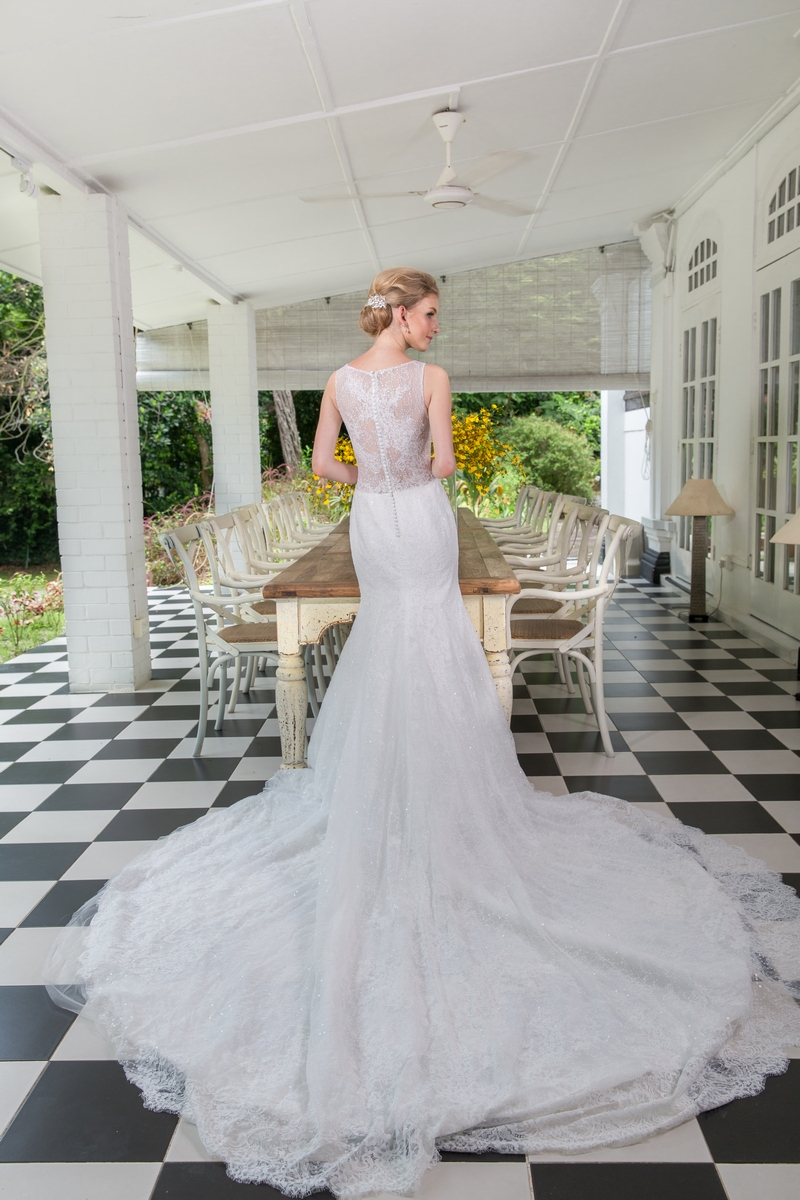 Illusion Neckline Fully Sequined Lace See Through Back And Side Mermaid Wedding Dress