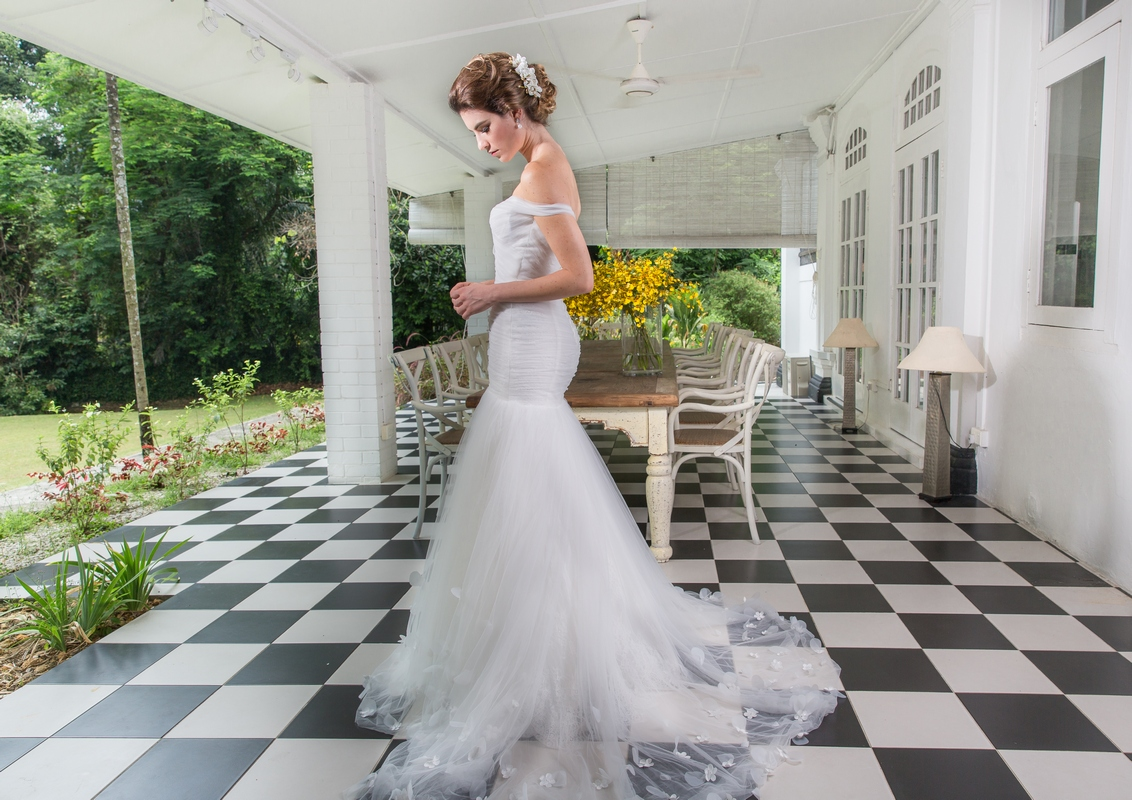 Off Shoulder Pleated Tulle Mermaid With 3D Florals Wedding Dress