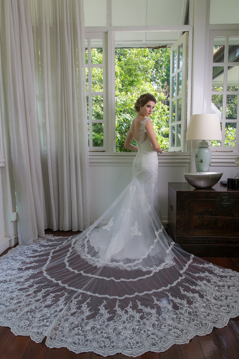 Illusion Lace Strap Low Back With Attached Lace Trim Train Mermaid Wedding Dress