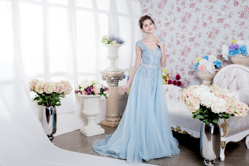 Pastel Blue Sliver Trim Lace Mermaid Gown