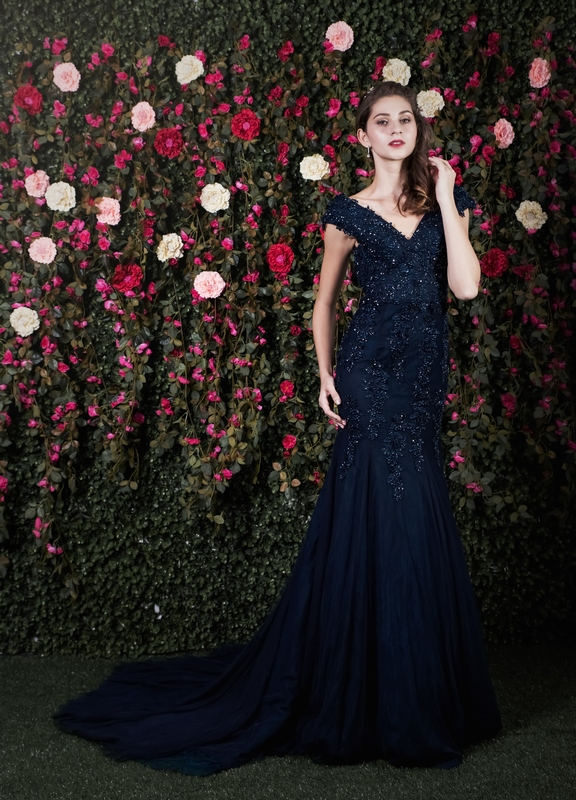Navy Beaded Lace Low Back Mermaid Gown