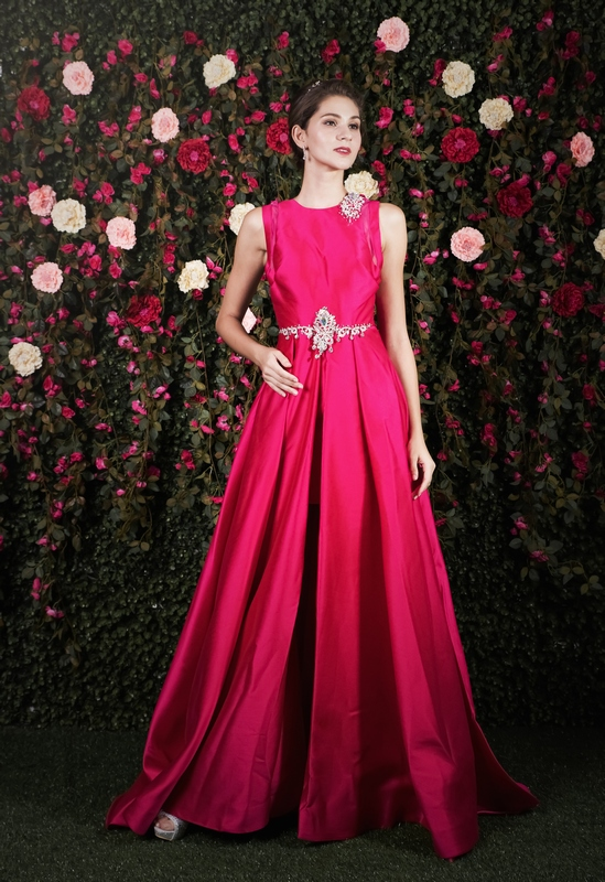 Fuscia Pink Inner Mermaid Satin Gown