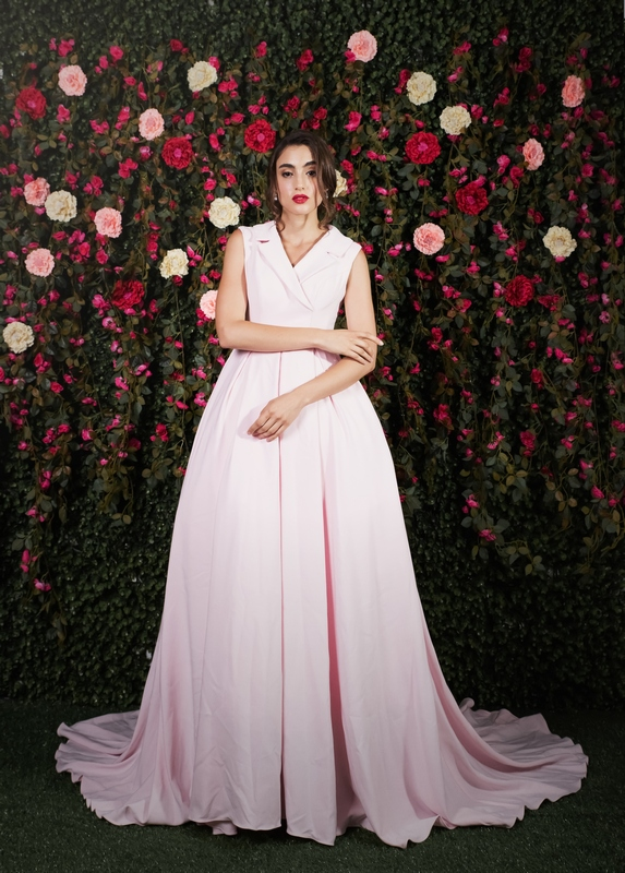 Collared Pastel Pink Pleated Ballgown