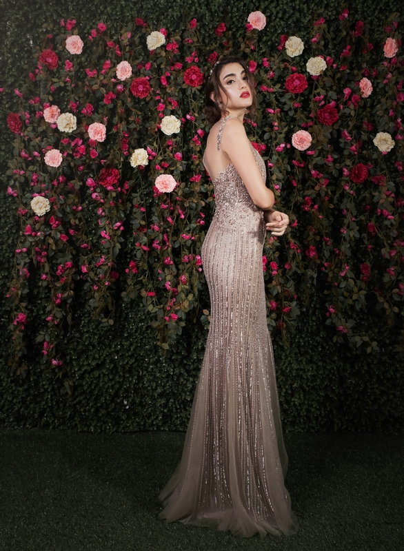 Illusion Back Sequin Champange Mermaid Gown