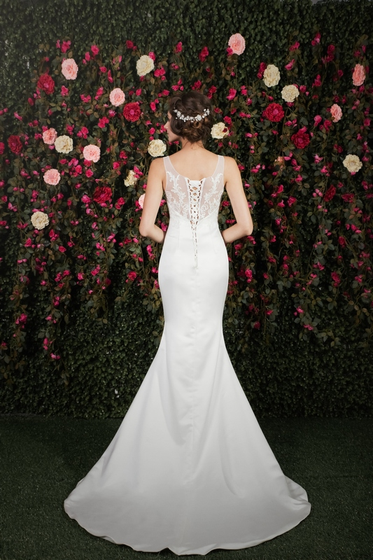 Illusion Lace Back Satin Mermaid Gown